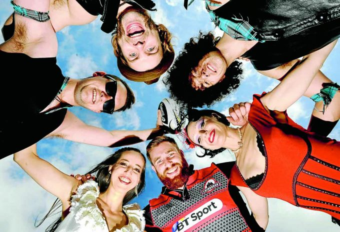 Le Haggis acts pictured with Edinburgh Rugby prop Simon Berghan Photo by Colin Harris