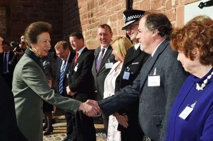 RECEPTION . . . HRH The Princess Royal shakes Professor David Thomson's hand as he lines up with local VIPs
