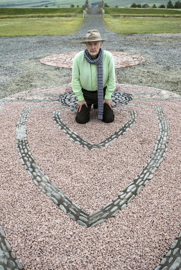 Charles Jencks and his new mosaic. Pic by Kim Ayres