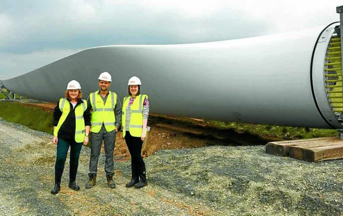 ON SITE . . . MSP Emma Harper with Rachel Anderson and Ralph James of RES