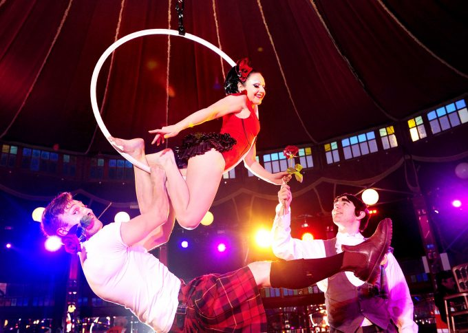 "FREE PIC- Burlesque Big Burns Supper Festival launch, Dumfries, 24/01/2014: Big Burns Supper Burlesque Show Celebrates the Bawdy Bard: Haggis, neeps, tatties and titillation as festival-goers flock to show which highlights poet's naughty side. A special Burlesque Burns Supper launches Dumfries's Big Burns Supper Festival this weekend (Saturday 25th and Sunday 26th January 2014) with male cabaret performer Edd Muir (left, correct) and aerial burlesque performer Empress Stah Power (correct) in the 1920s style mirrored tent The Famous Speigeltent. The show, entitled ""Le Haggis"" has enthralled festival audiences in Dumfries as they tuck into haggis, neeps and tatties while a nearly naked Empress Stah Power swings on a hoop above their heads. The show is put on in the spirit of Robert Burns who is sure to have enjoyed a bawdy burlesque performance. With Stah and Edd is Justin Hyslop as Robbie Burns (right). More info from: Matthew Shelley - 07786 704 299 or at MJHShelley@hotmail.co.uk  or  Jenny Walker on 01387 271 820 or  marketing@bigburnssupper.com  Photography from:  Colin Hattersley Photography - colinhattersley@btinternet.com - www.colinhattersley.com - 07974 957 388"