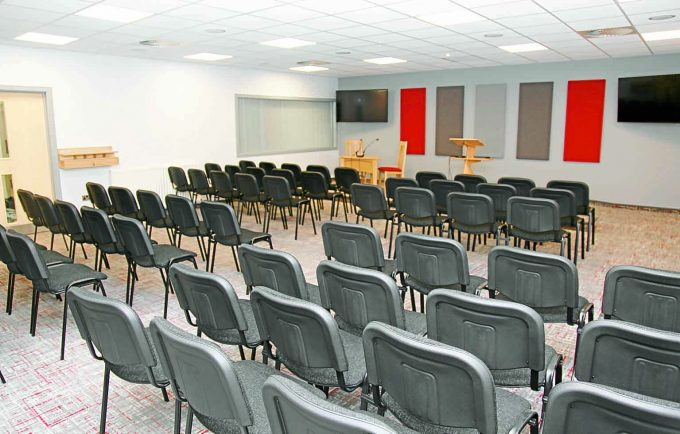 Jehova's Witnesses *** Local Caption *** NEW LOOK . . . inside the Kingdom Hall at Annan