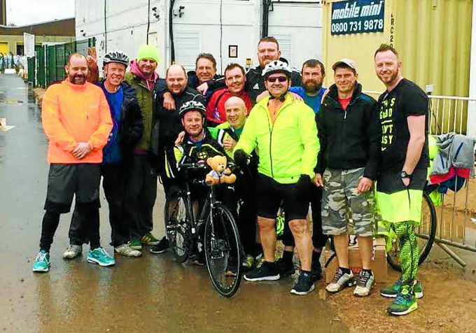 FINISHING LINE . . . the eighteen riders who completed Saturday's gruelling challenge *** Local Caption *** FINISHING LINE . . . the eighteen riders who completed Saturday's gruelling challenge