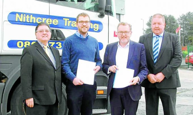 HGV WARNING . . . pictured are Chic Brodie, Oliver Mundell MSP, Scottish Secretary David Mundell and Nithcree Training MD Geoff Campbell