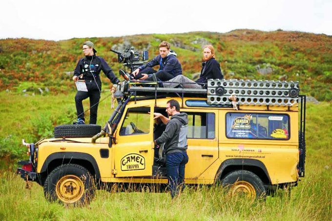 ON LOCATION . . . filming takes place from the top of a Land Rover. Picture: Luke Deering