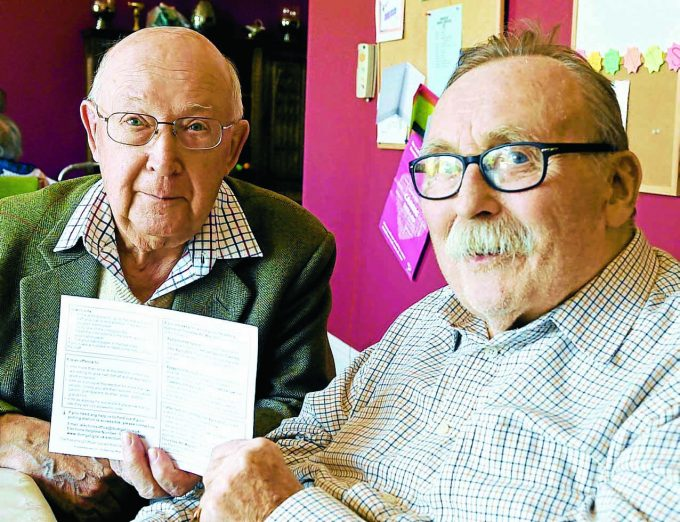 USE YOUR VOTE . . . two Moffat octogenarians, who have got scores of elections under their belts, are urging others to vote today. Alastair Barr, 83, left, and Alastair MacDonald, 82, who are residents at Bankfoot House in the town, are firm believers in the democratic process and have already cast their postal votes in this week's local government elections. And with polling taking place across the region today, the duo are urging voters of all ages to hurry to the ballot box and chose their new councillors. Keep an eye on our website, www.dng24.co.uk, tomorrow for all the area's election results and follow us live on Twitter through the day at @dng24  *** Local Caption *** USE YOUR VOTE . . . two Moffat octogenarians, who have got scores of elections under their belts, are urging others to vote today. Alastair Barr, 83, left, and Alastair MacDonald, 82, who are residents at Bankfoot House in the town, are firm believers in the democratic process and have already cast their postal votes in this week's local government elections. And with polling taking place across the region today, the duo are urging voters of all ages to hurry to the ballot box and chose their new councillors. Keep an eye on our website, www.dng24.co.uk, tomorrow for all the area's election results and follow us live on Twitter through the day at @dng24