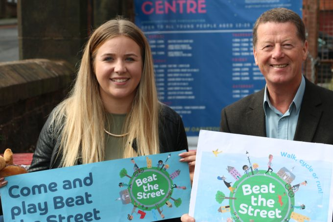 GET MOVING . . . Nithsdale Area Committee chairman Ronnie Nicholson and Beat the Street engagement officer, Mairi Gordon, are encouraging people to sign up for the Dumfries health initiative   *** Local Caption ***  GET MOVING . . . Nithsdale Area Committee chairman Ronnie Nicholson and Beat the Street engagement officer, Mairi Gordon, are encouraging people to sign up for the Dumfries health initiative