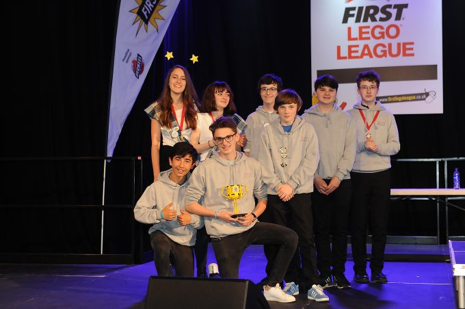LEGO LEAGUE . . . The Wallace Hall Academy pupils pose with their third place trophy *** Local Caption ***  LEGO LEAGUE . . . The Wallace Hall Academy pupils pose with their third place trophy