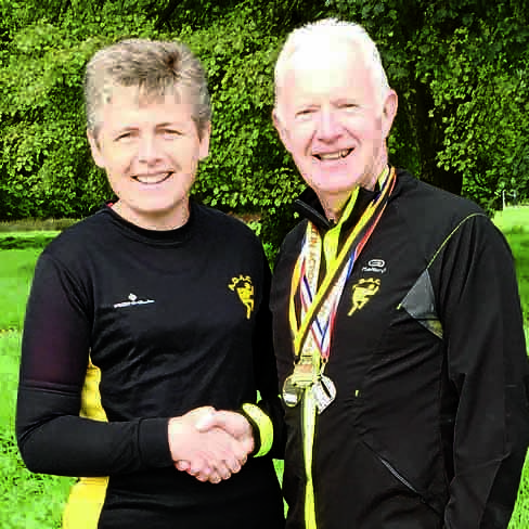 George Fraser being congratulated by Ruth Griffith, ADAC Summer Road. Championship managerd