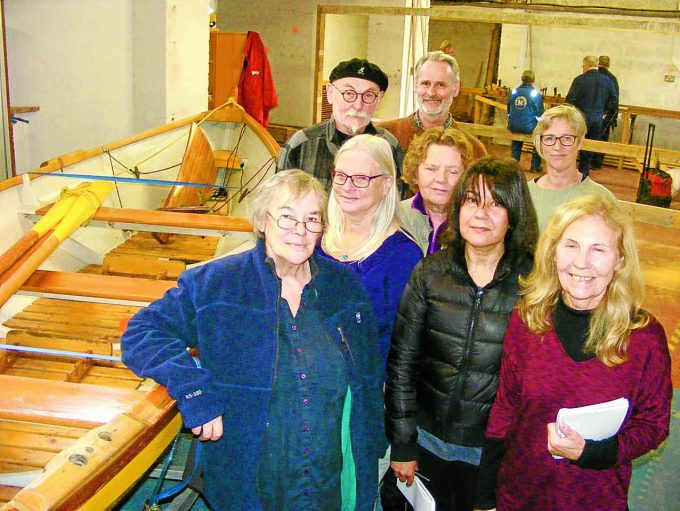 WRITING RESEARCH . . . members of the Ebb & Flow writing team visit the headquarters of Annan Harbour Action Group to meet with fishermen, a fishing net knitter and boat-builders as part of a £4900 cultural heritage project