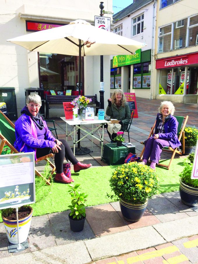 PARK PROMOTION . . . a 'pop-up park' at the corner of Irish Street and Friars Vennel last month helped highlight the issue of parking violations in Dumfries