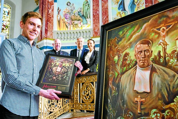 CELTIC STUDY . . . PhD student Michael Connolly launches a PhD focused on Brother Walfrid, founder of Celtic FC, watched by St Mary's Calton parish priest Father Thomas White, Celtic chief executive Peter Lawwell and Nine Muses owner Emma O'Neil