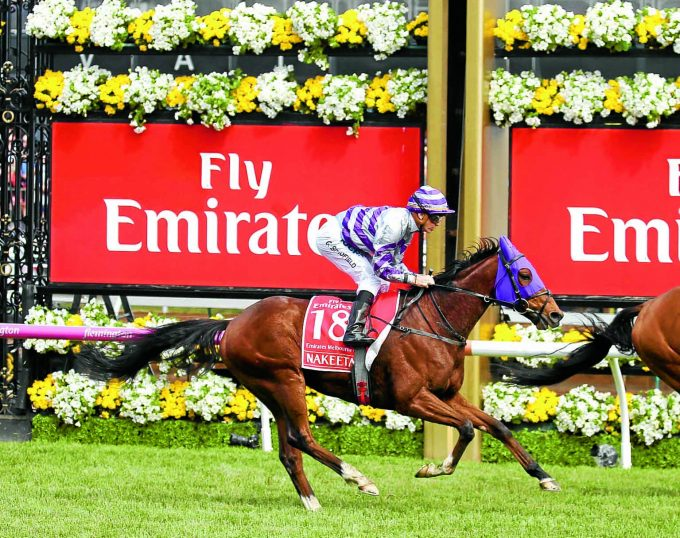 NAKEETA  Ridden by Glyn Schofield (purple hood 18) and Trained by Iain Jardine 5th in the  Emirates Melbourne Cup at Flemington 7/11/17Photograph by Grossick Racing Photography 0771 046 1723