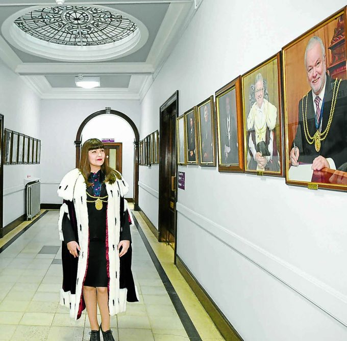 HALL OF FAME . . . Provost Tracey Little standing in the 'Provost Hall of Fame.' Tracey is the second ever female Provost and hopes to put her own stamp on the role. Read all about it on page 15 *** Local Caption *** HALL OF FAME . . . Provost Tracey Little standing in the 'Provost Hall of Fame.' Tracey is the second ever female Provost and hopes to put her own stamp on the role. Read all about it on page 15