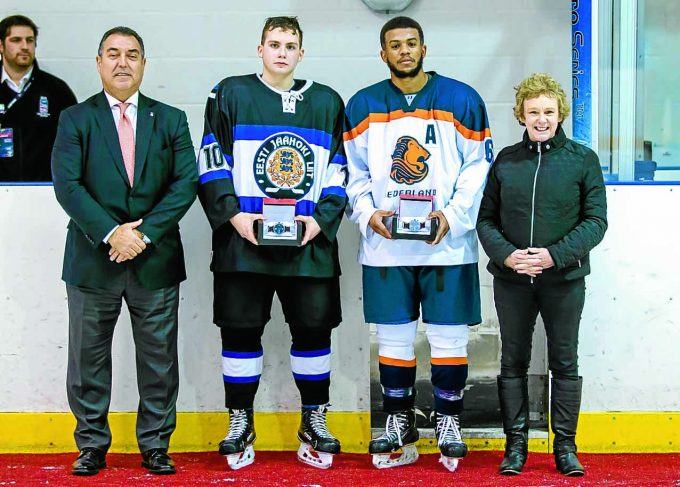TOURNAMENT SUCCESS . . .Council leader Elaine Murray, right, and IIHF representative Frank Gonzalez, left, present Player of the Tournament prizes to Dmitri Kuznetsov of Estonia and Ceaney Van Uytrecht of The Netherlands *** Local Caption *** TOURNAMENT SUCCESS . . .Council leader Elaine Murray, right, and IIHF representative Frank Gonzalez, left, present Player of the Tournament prizes to Dmitri Kuznetsov of Estonia and Ceaney Van Uytrecht of The Netherlands