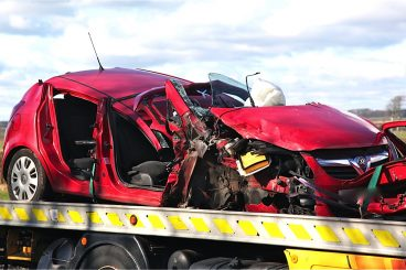 Car and lorry in A75 collision