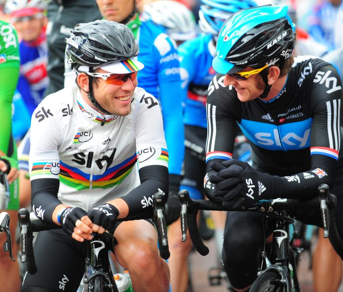 Mark Cavendish and Bradley Wiggins during the 2013 Tour of Britain