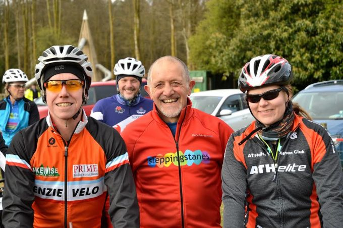 Dave Moss from Dumfries (centre), one of the organisers, and is shown with a group at the start-line