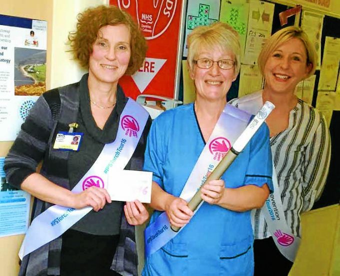 TORCH LAUNCH . . .  Infection Control Manager Elaine Ross, Thornhill Hospital Deputy Charge Nurse Dorothy Lindsay and infection control nurse Charlene Anderson