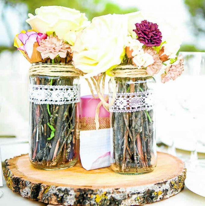 Wedding table setting. Ornamental detail.