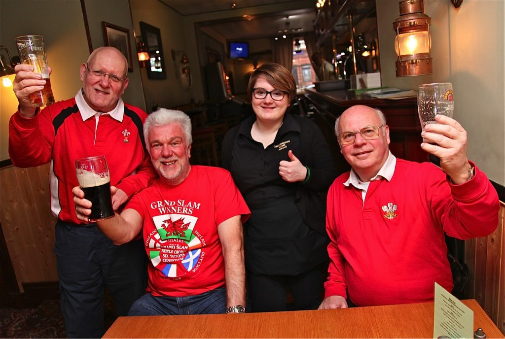 Welsh rugby fans in Scottish pub