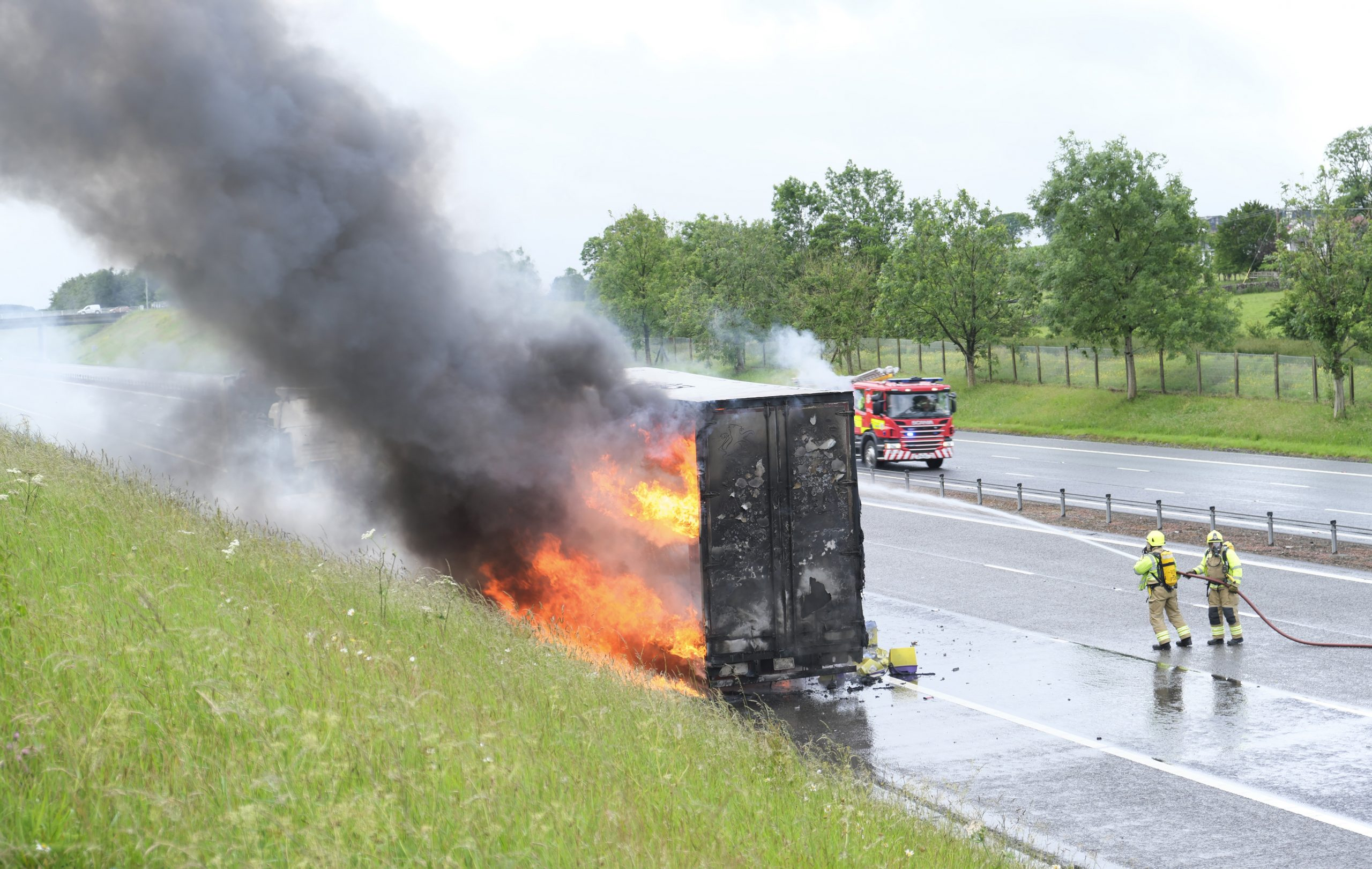 Lorry fire on motorway